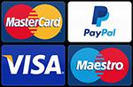 Online-Zahlmöglichkeiten: Visa,MasterCard,Maestro,PayPal