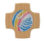 Holzkreuz Taube+Regenbogen+Wasser