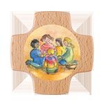 Holzkreuz Kinder beim Mahl