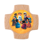 Holzkreuz Kinder mit Kommunionkind beim Mahl (NEU 2016)