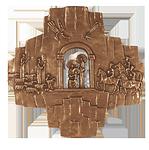 Bronzekreuz Krippendarstellung