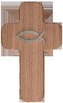 Holzkreuz mit Fisch aus Edelstahl