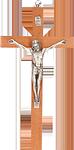 Holzkreuz mit Körper aus Feinmetall