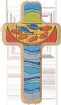 Holzkreuz Brot und Fische