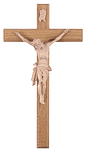 Holzkreuz mit Körper aus Kunstharz