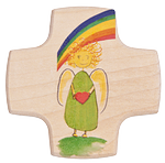 Holzkreuz Engel mit Herz